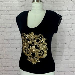 EXPRESS Gold Sequin Black Lace Back Tee Shirt   S